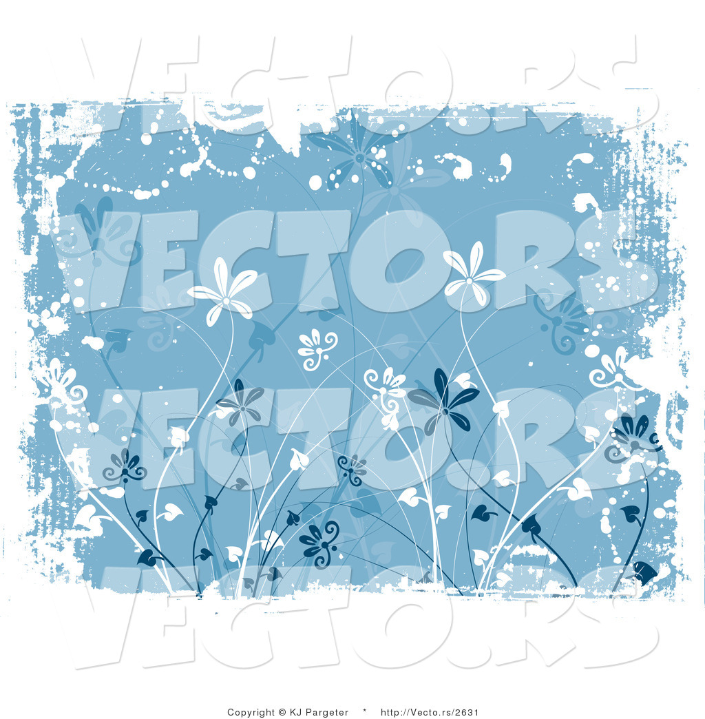 Vector of Blue Floral Grunge Background Design with Tall Flowers.