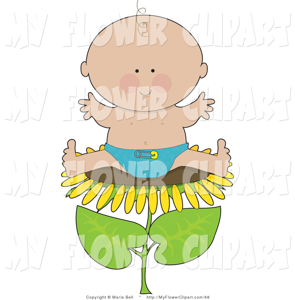 Clip Art of a Cute Little Caucasian Baby Boy in a Blue Cloth.