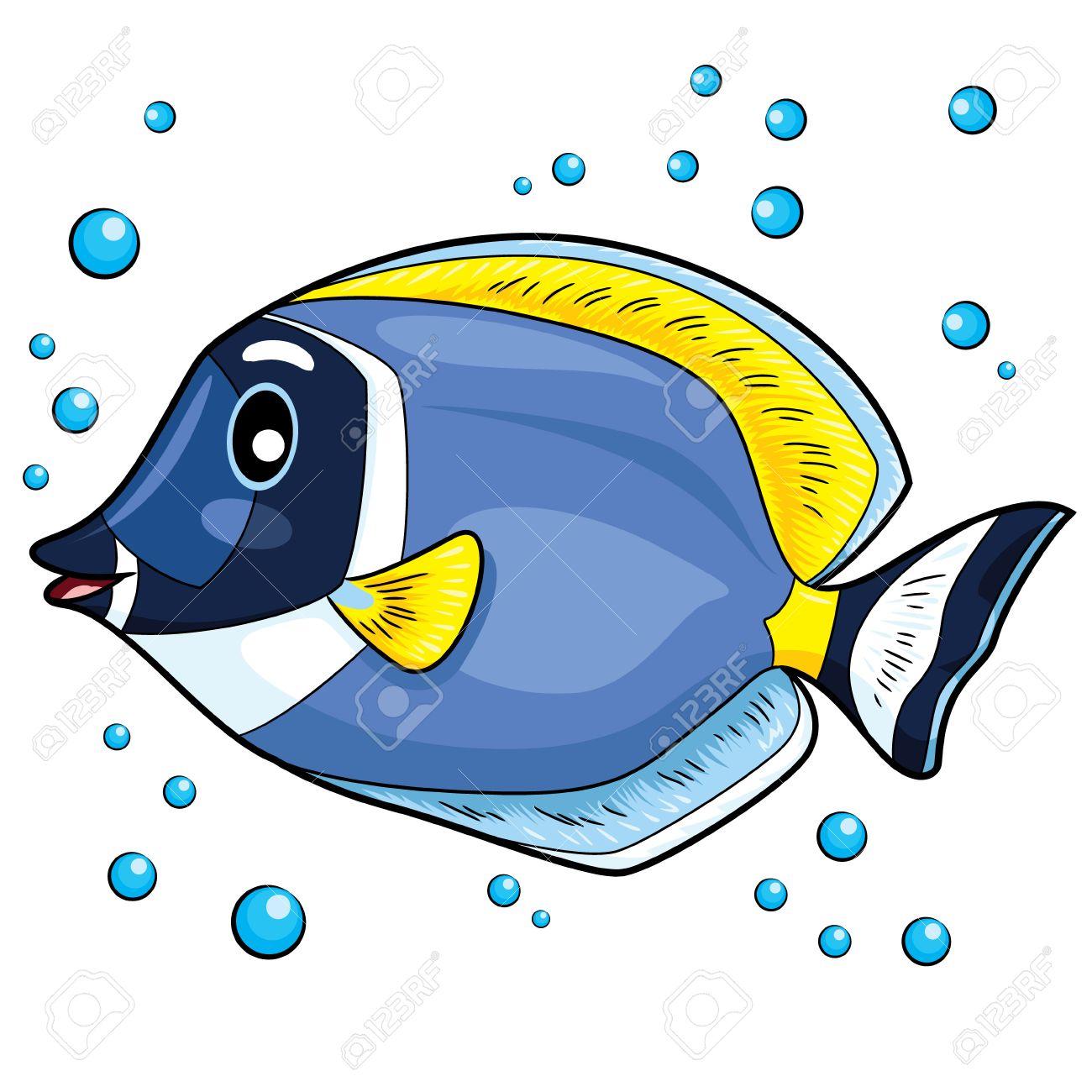 Illustration of blue tang fish..