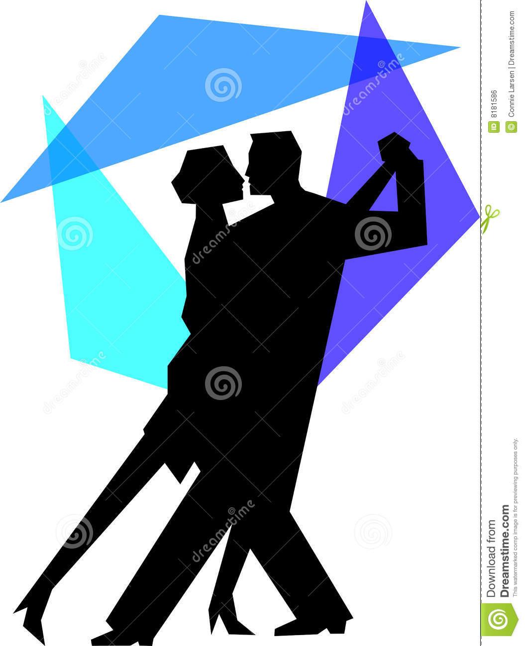 Blue Tango Dance Couple/eps Royalty Free Stock Image.