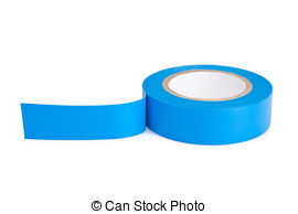 Blue tape. Collection of blue electrical tape pieces..