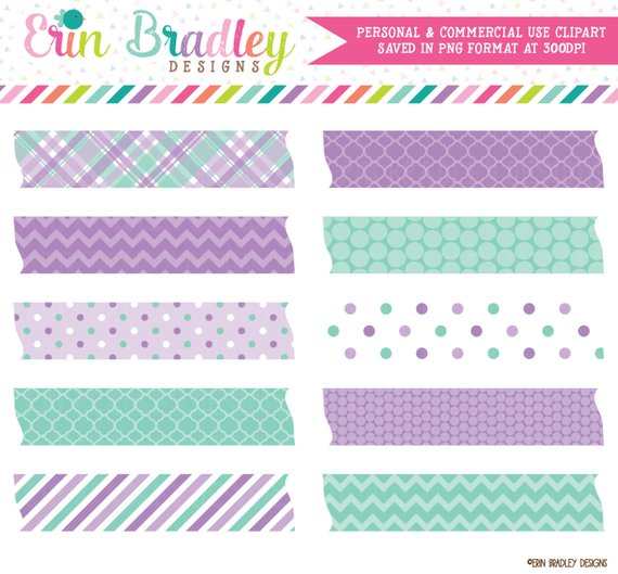Instant Download Clipart Labels, Digital Washi Tape Clipart.