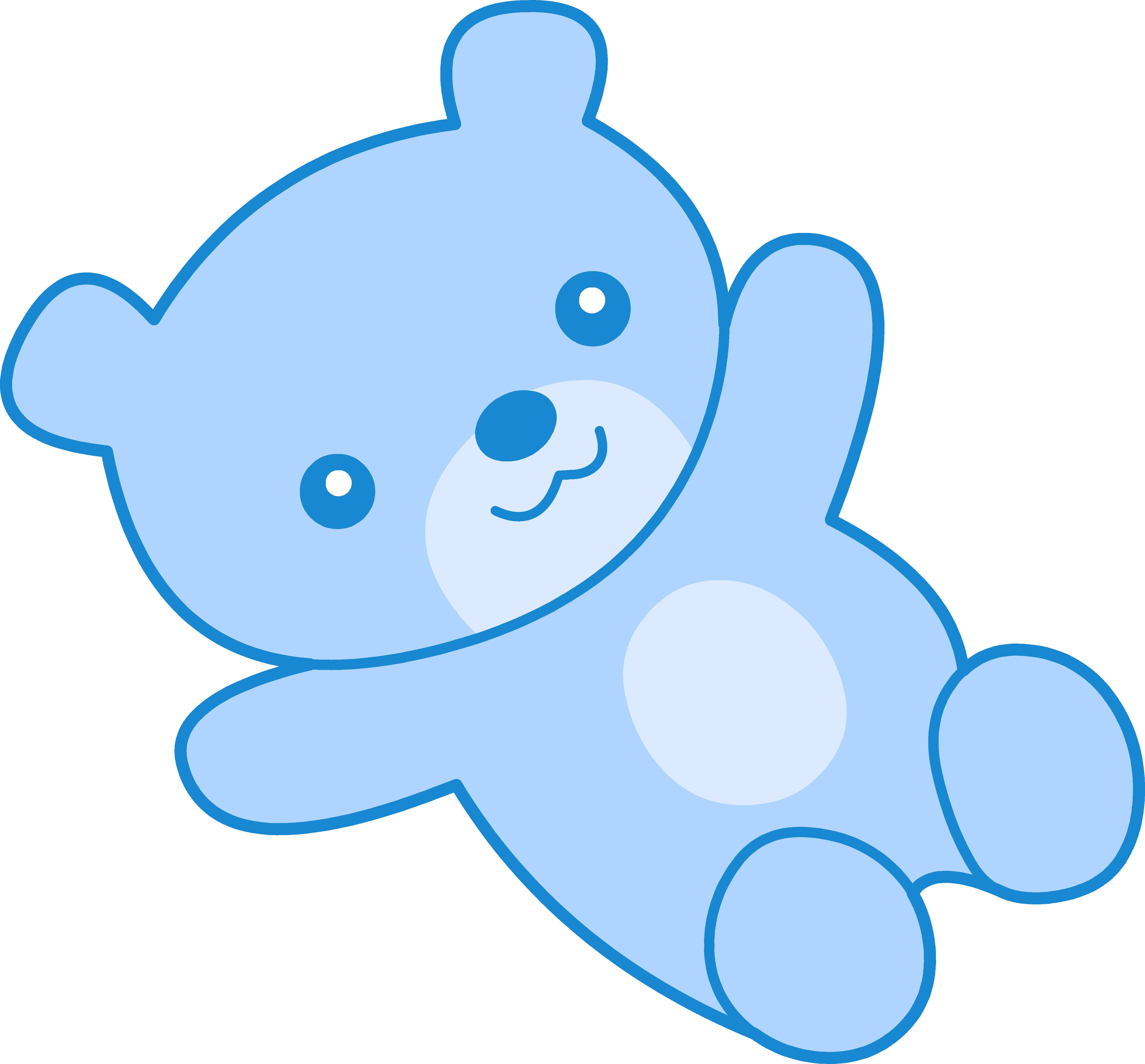 Cute Blue Teddy Bear Clipart.