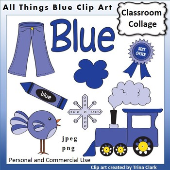 Blue Things Clip Art Color personal & commercial use.