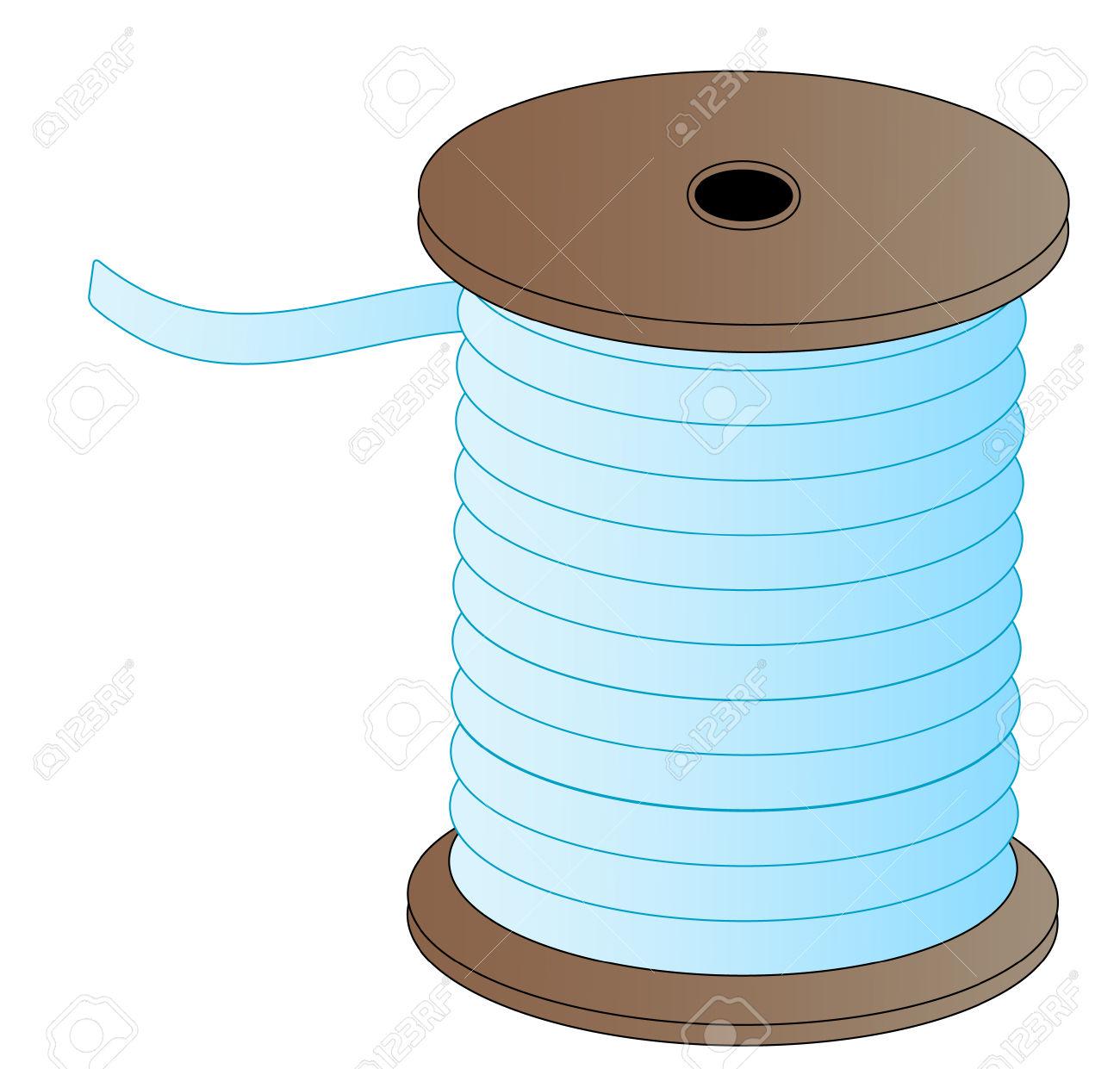 Spool Of Blue Thread On Wooded Spool.