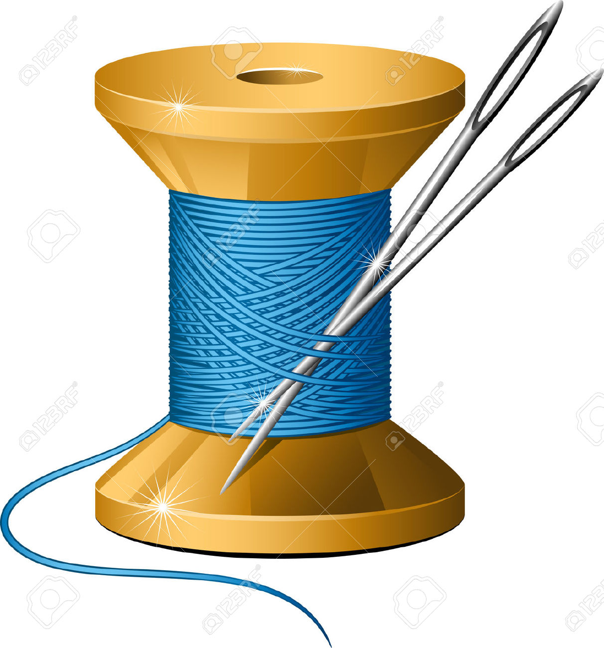 Needle and thread vector clipart.