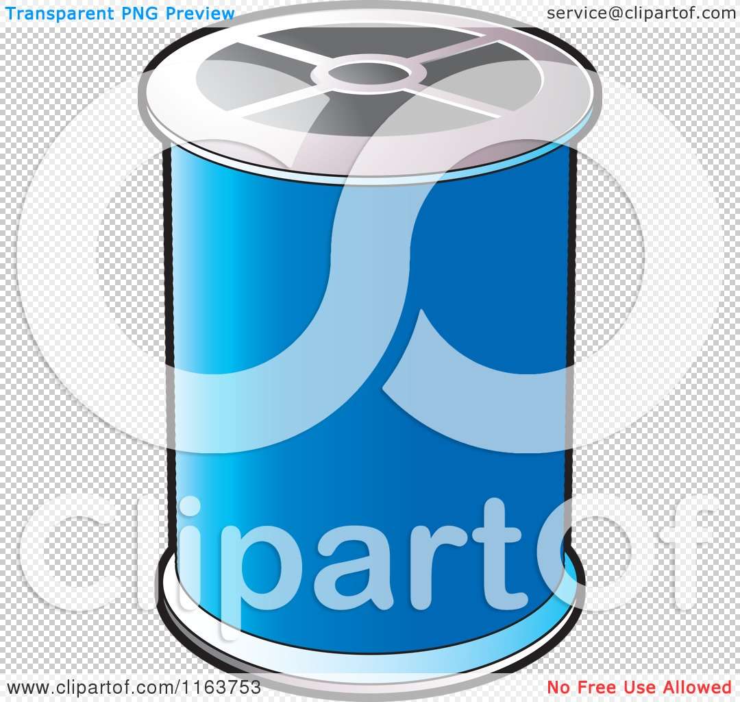 Clipart of a Spool of Blue Sewing Thread.