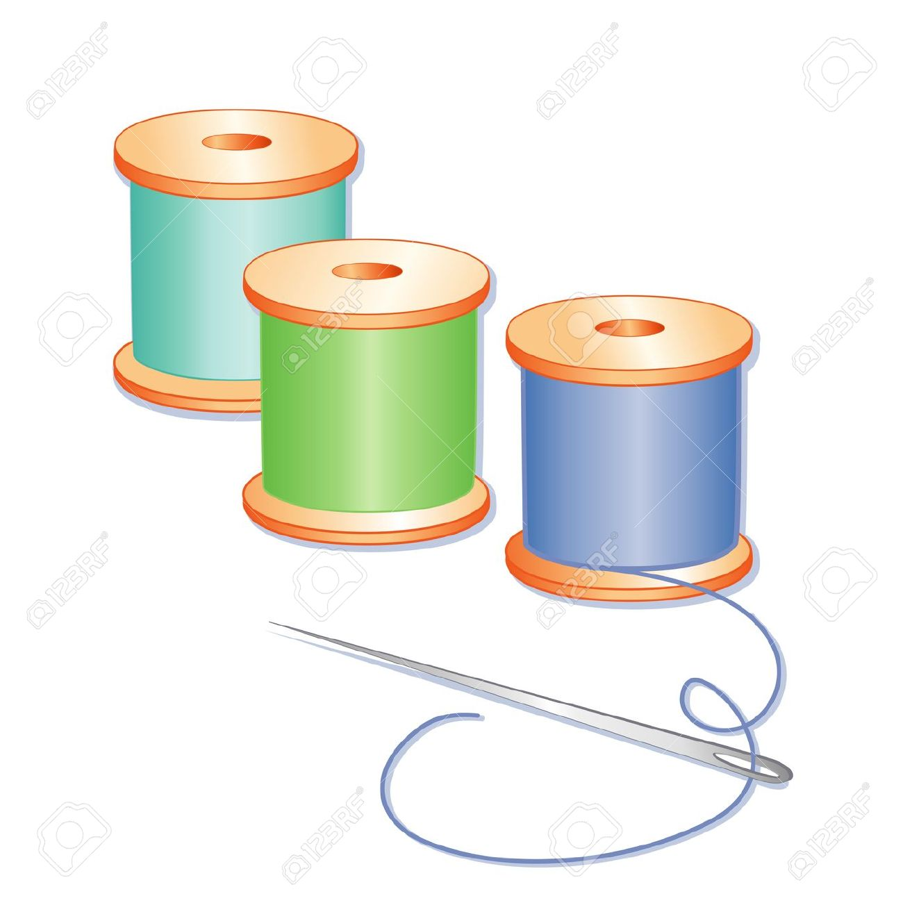 Sewing Needle, Spools Of Blue, Green And Aqua Thread, White.