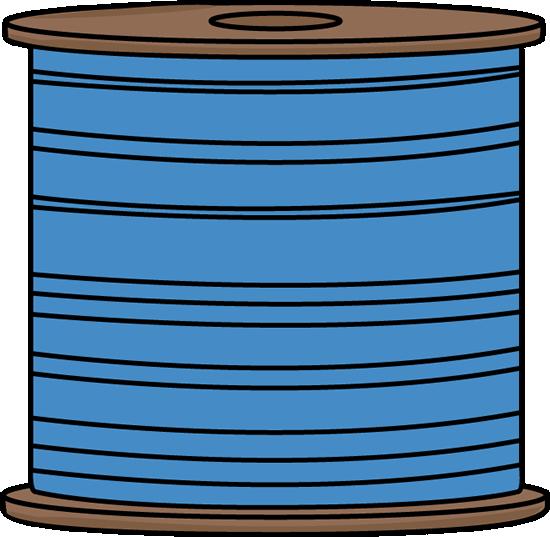 Spool of Blue Thread Clip Art.