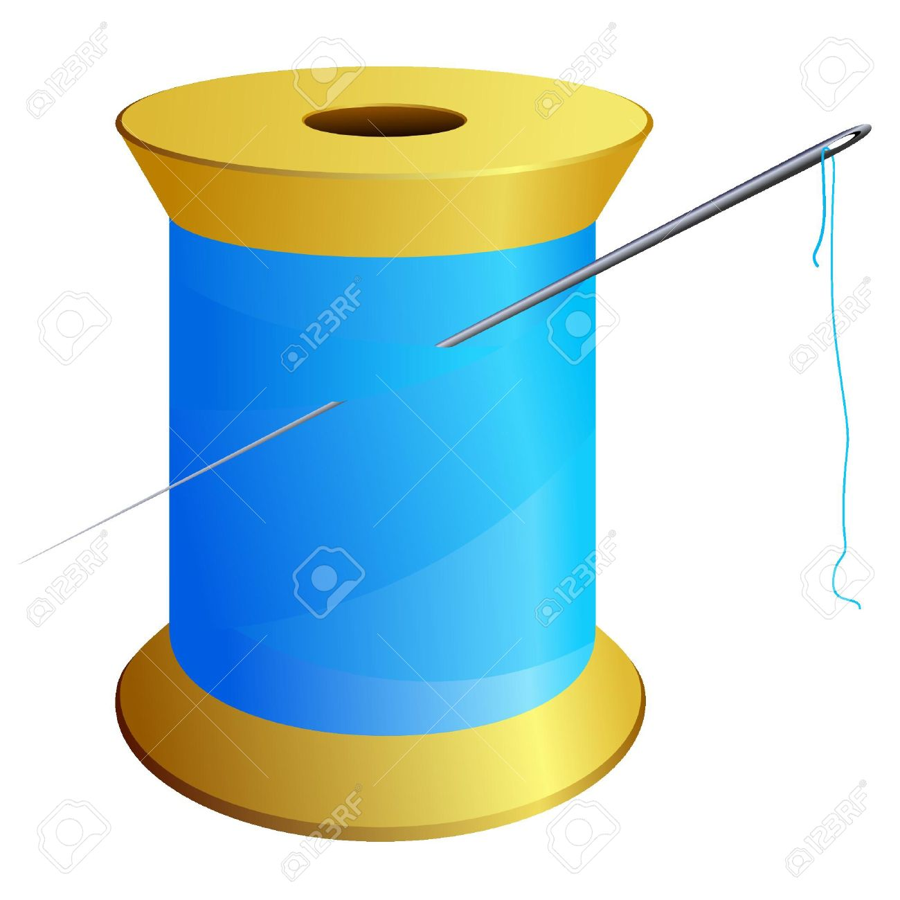 Spool Of Blue Thread With A Needle. Vector Royalty Free Cliparts.