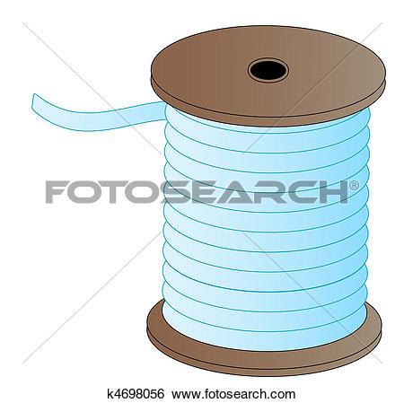 Stock Illustration of spool of blue thread on wooded spool.