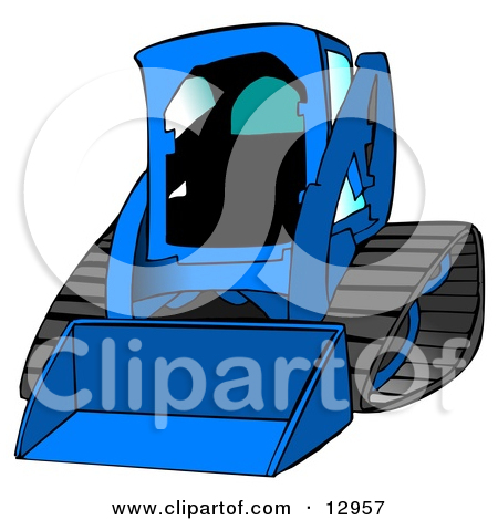 Dark Yellow Bobcat Skid Steer Loader With Blue Window Tint Clipart.