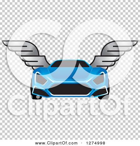 Clipart of a Blue Sports Car with Window Tint and Wings.