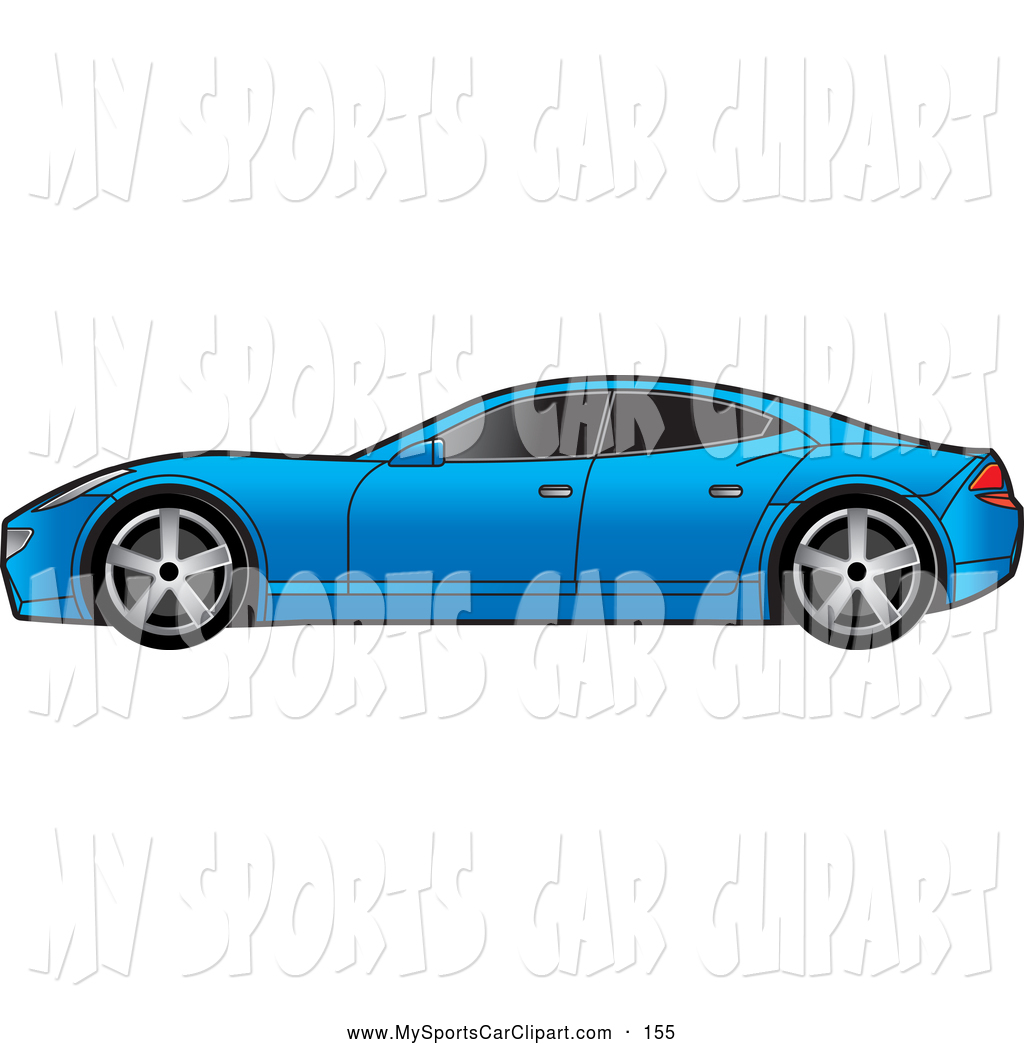 Transportation Clip Art of a Blue Four Door Sports Car with Window.