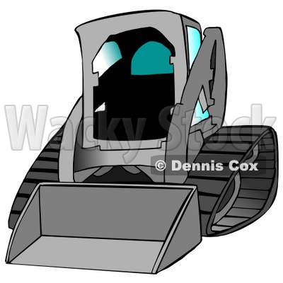 Gray Bobcat Skid Steer Loader With Blue Window Tint Clipart.