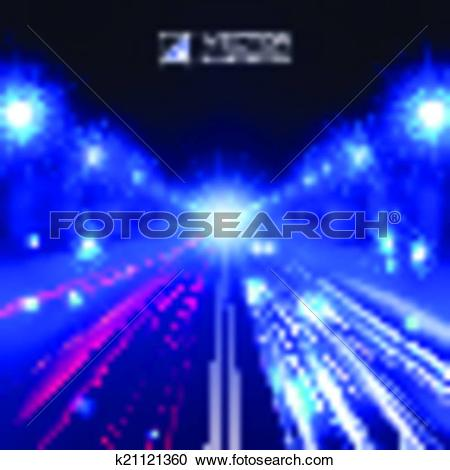 Clipart of blue tint night road k21121360.