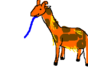A giraffe with feathers has a blue tongue. (drawing by Susan5797).