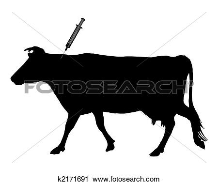 Clipart of Cow gets an inoculation because of blue tongue disease.