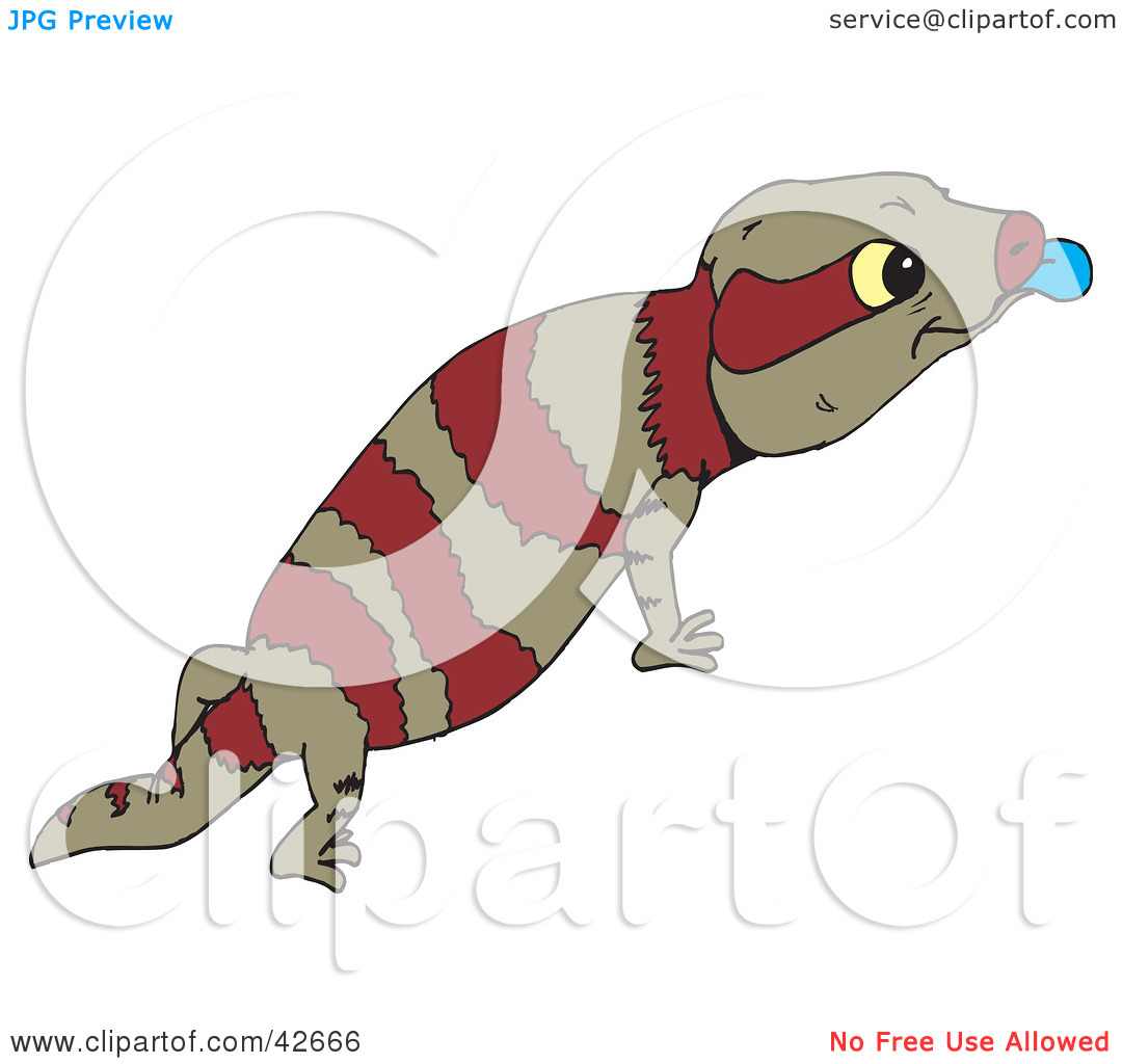 Clipart Illustration of a Brown And Red Striped Lizard Sticking.