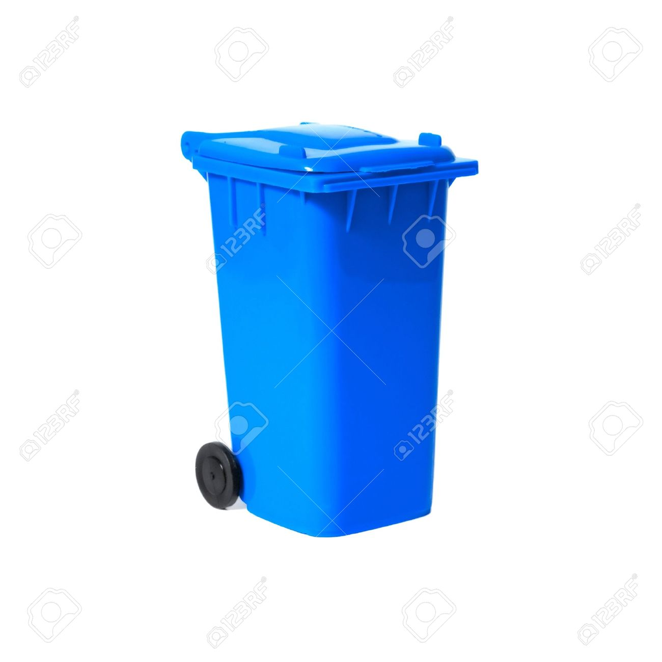 Blue Empty Recycling Bin Stock Photo, Picture And Royalty Free.