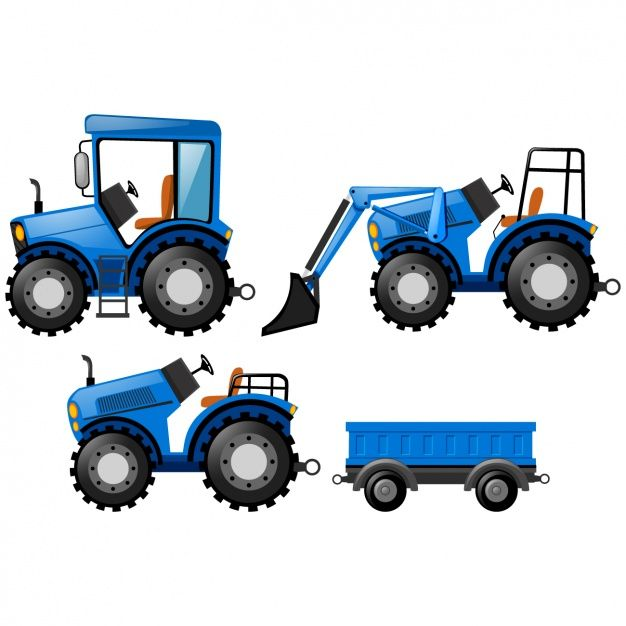 Blue tractors design Free Vector.