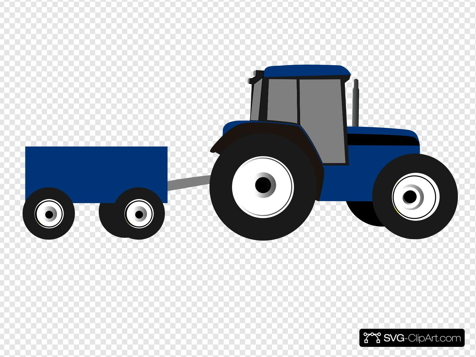 Blue Tractor Clip art, Icon and SVG.