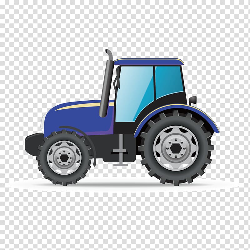 Blue tractor illustration, Car Truck Architectural.