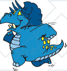 Clipart Illustration of a Blue Triceratops Running To The Left.