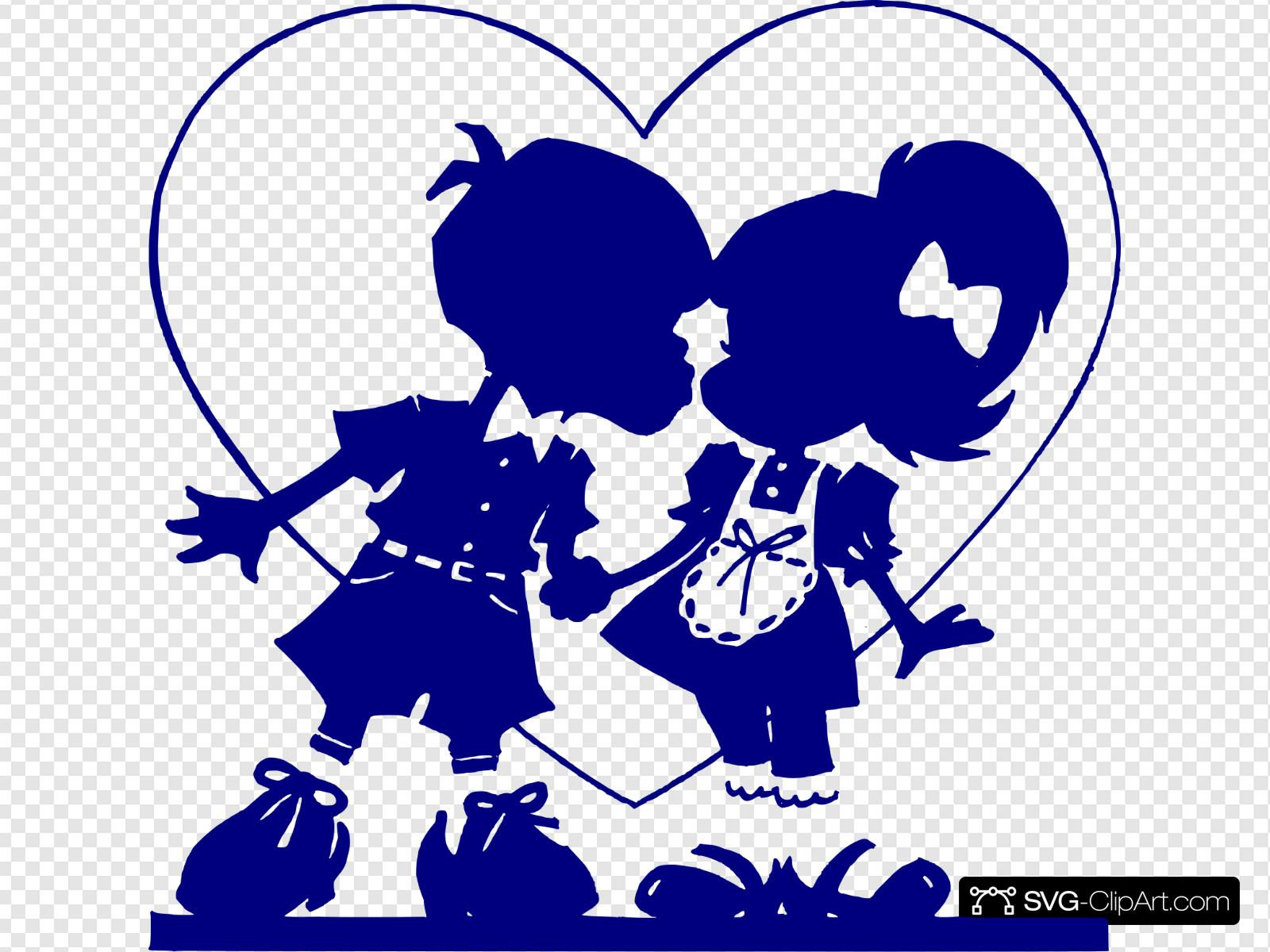 Dark Blue Valentine Kiss Clip art, Icon and SVG.