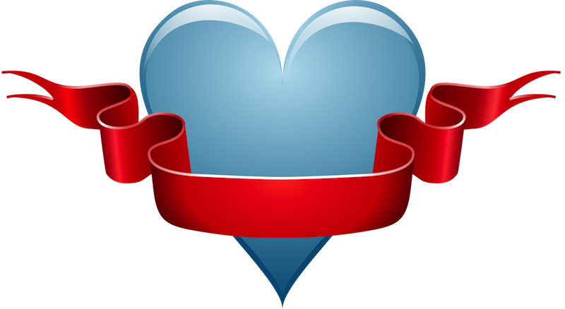Blue Heart With Ribbon.