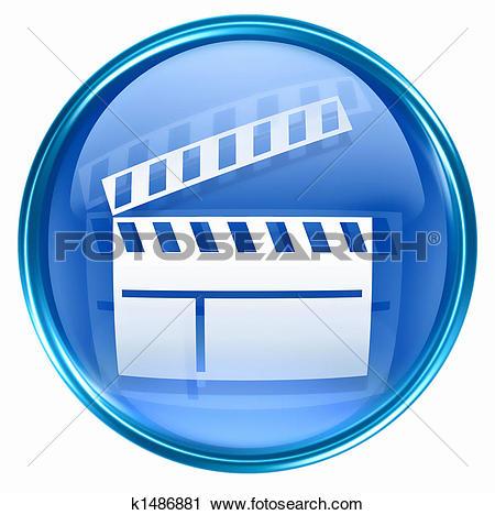 Clipart of movie clapper board icon blue k1486881.