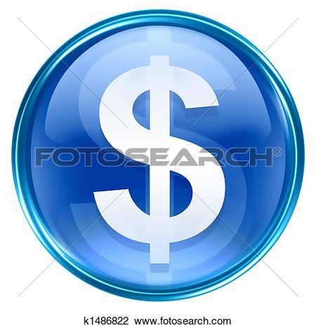 Clip Art of button dollar icon blue k1486822.