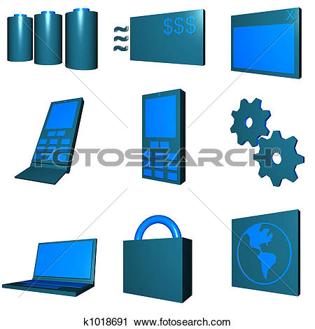 Clipart of Telecommunications Mobile Industry Icons Set.