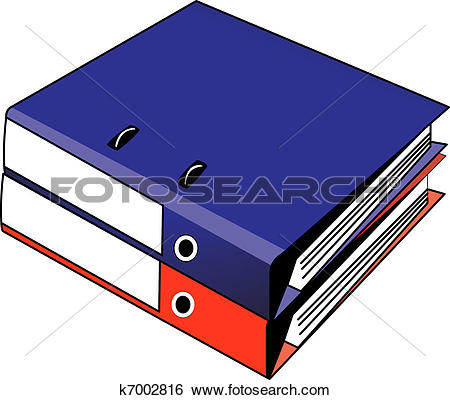 Clip Art of Two binders red and blue k7002816.