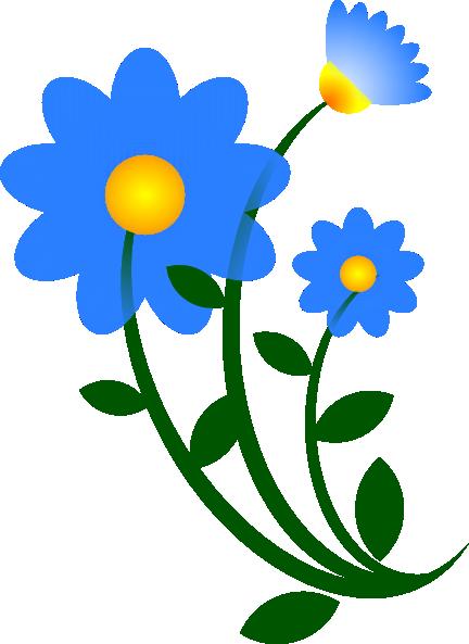 Blue Flower Border Clip Art.