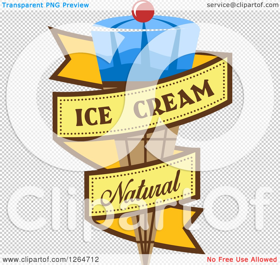 Clipart of a Blue Waffle Ice Cream Cone in a Yellow Natural Ribbon.
