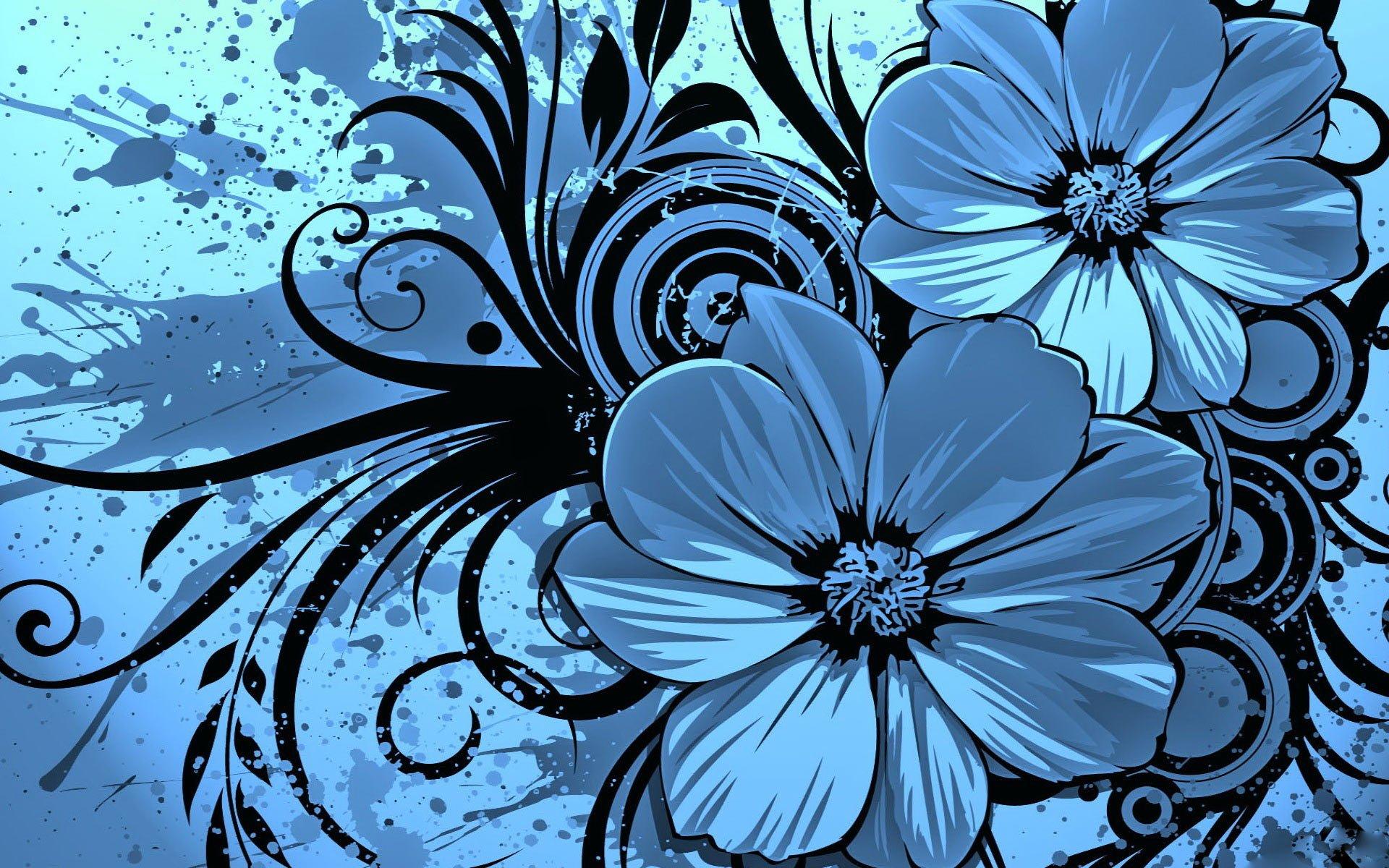 Blue Flowers Wallpaper.