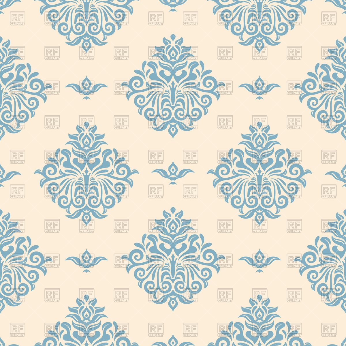 Blue vintage wallpaper with victorian ornament Vector Image #50740.