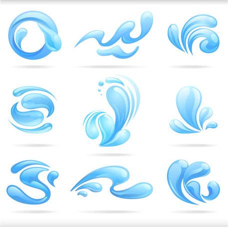Splash of blue water drops vector illustratio, vector graphics.