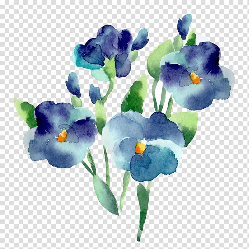 Flower Blue Watercolor painting, Blue flowers, purple and green.