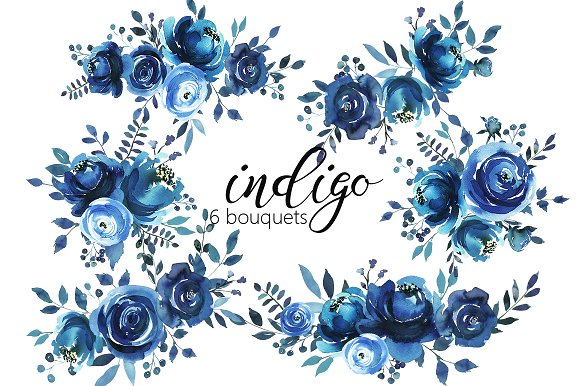 Indigo Blue Watercolor Flowers Set.