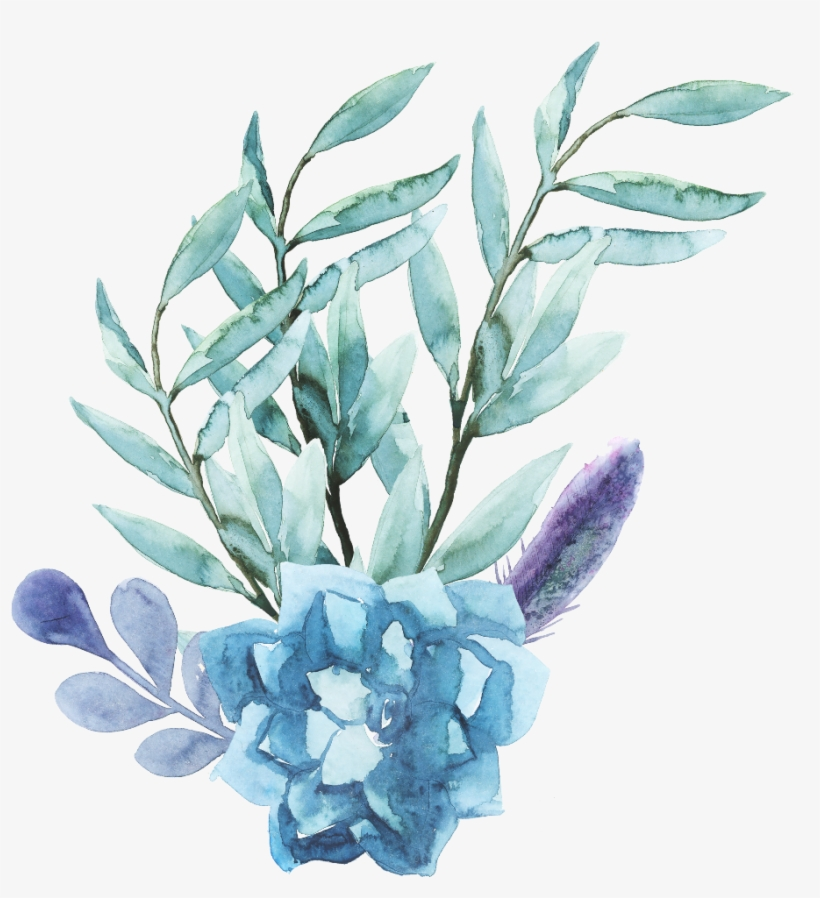 Ftestickers Watercolor Flowers Blue.