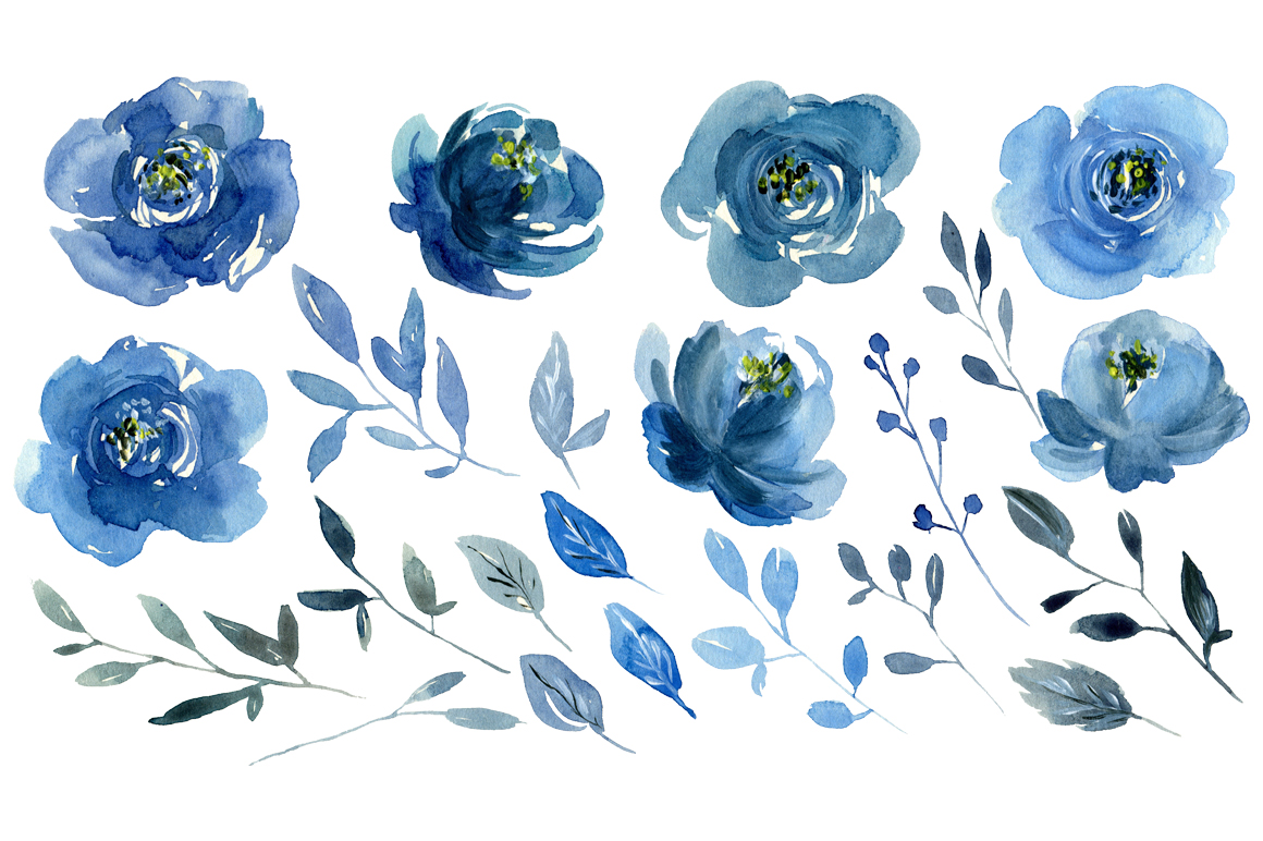Watercolor Flowers Blue at PaintingValley.com.