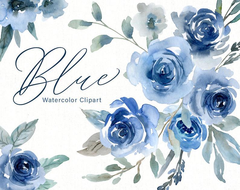Blue Watercolor Flowers Clipart Wedding Roses Watercolour Floral Clip Art  Indigo Navy Sapphire Bouquets Arrangements Free Commercial Use PNG.
