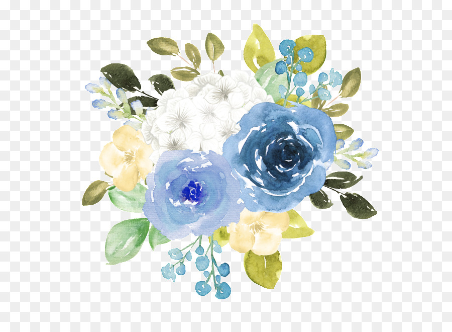 Blue Watercolor Flowers png download.
