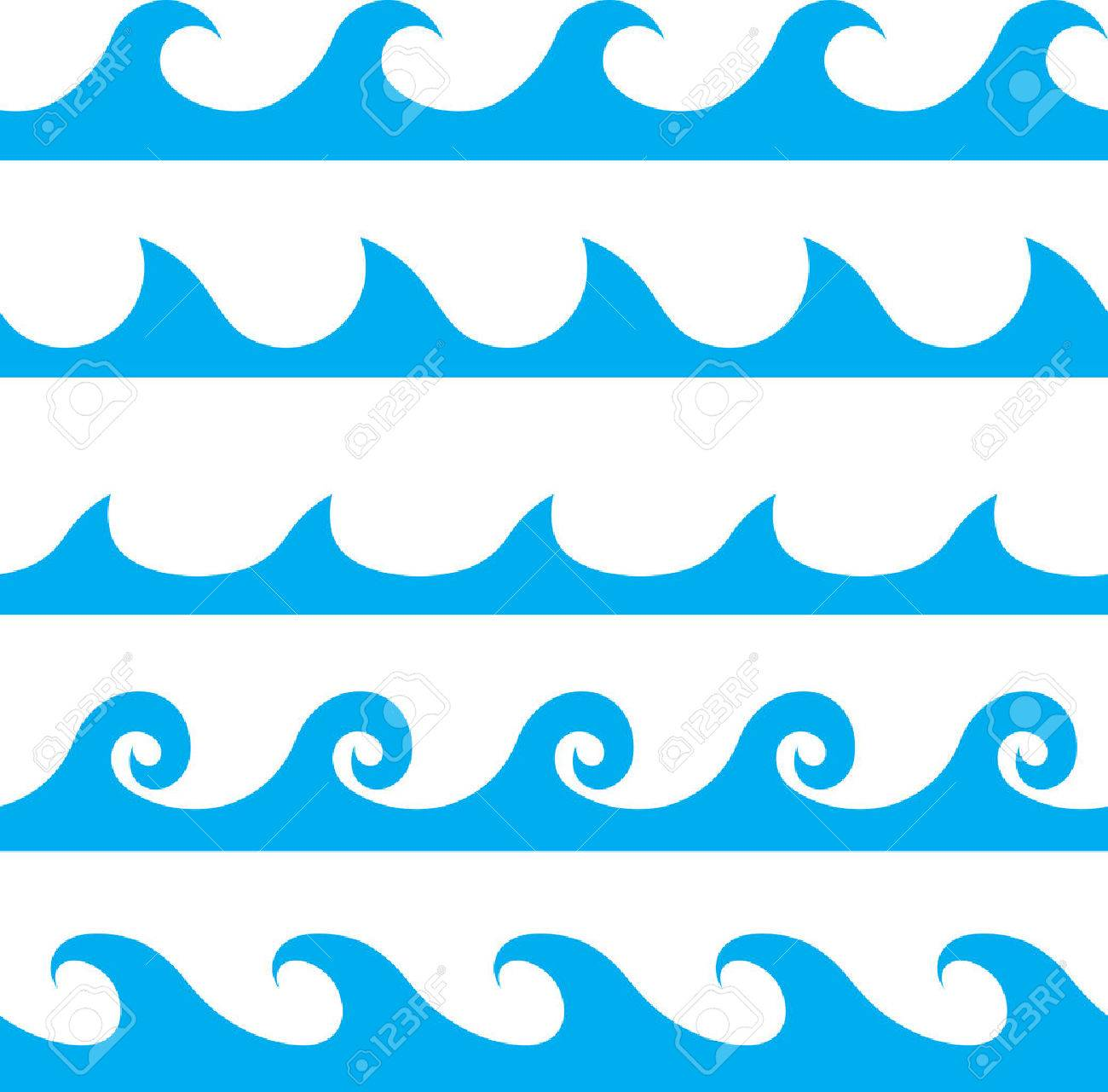 Seamless vector blue wave line pattern.