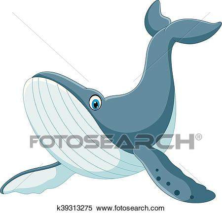 Happy blue whale cartoon Clipart.