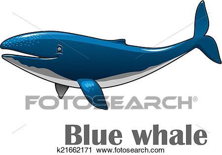 Cartoon blue whale Clipart.