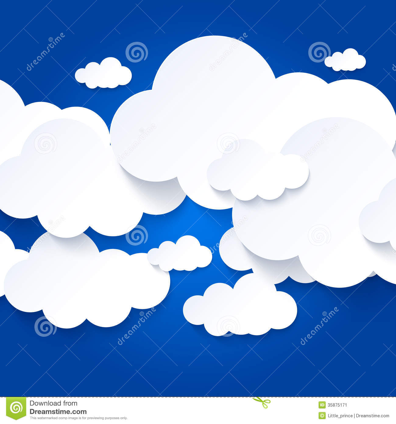 White Clouds On Blue Sky Background Stock Image.