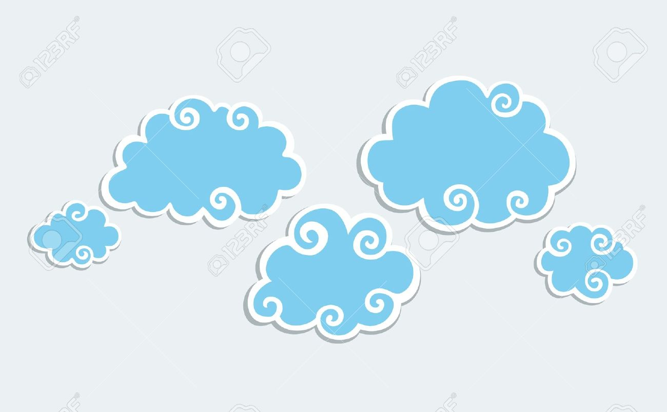 Blue white clouds clipart #16